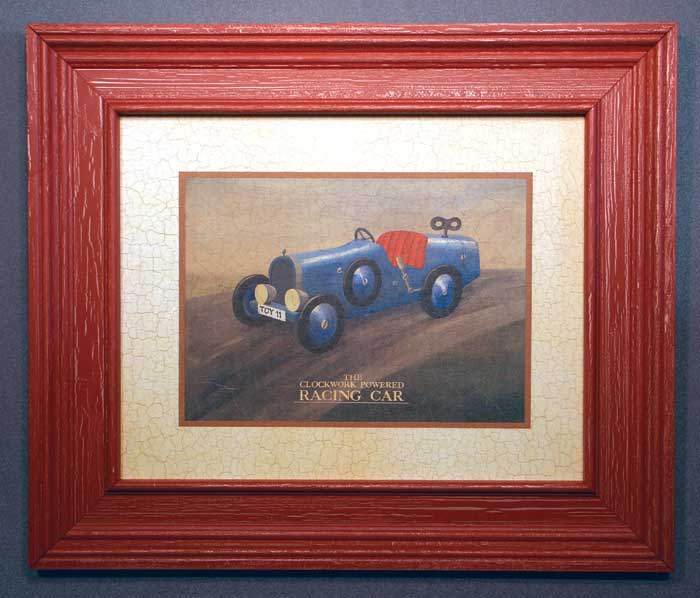 AL-04004 Race Car - rustic red crackle finish 26 x 22