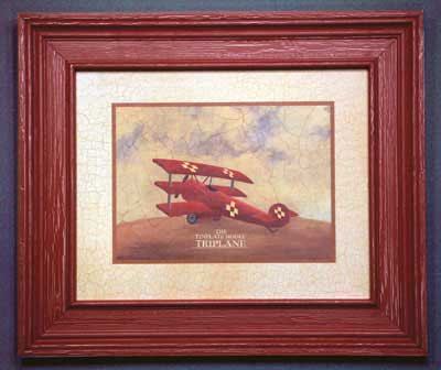 AL-04005 Tri-Plane - rustic red crackle finish 26 x 22