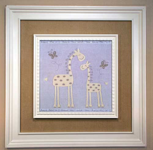 AL-21381 Giraffe Mother and Baby (beige corduroy panel) 35 x 35