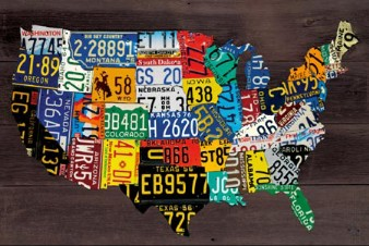 71047 USA Map - License Plates 36 x 24