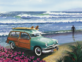 65027 Surf City (teal woody) 16 x 12