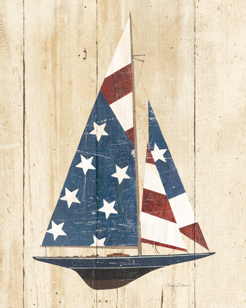 54098 American Flag Sailboat 16 x 20